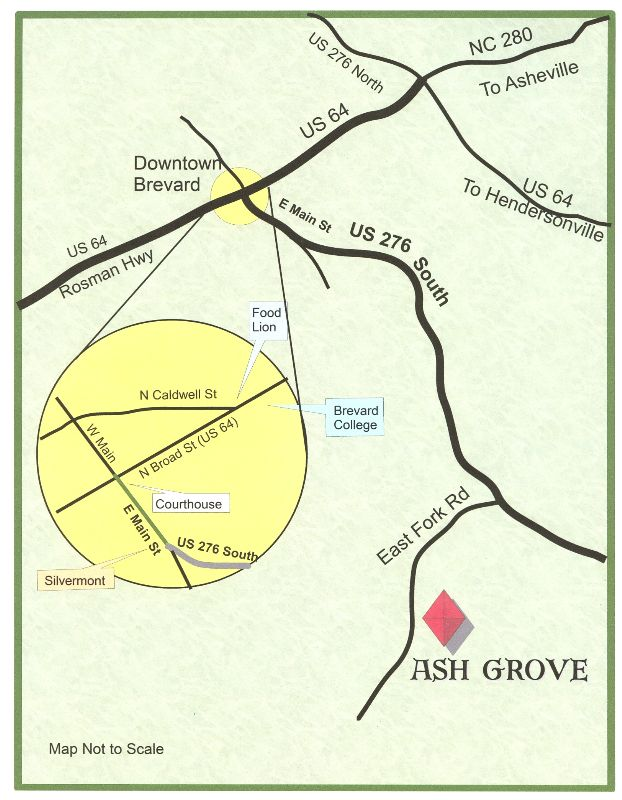 Location Directions To Ash Grove Brevard NC From Asheville - Brevward map of us